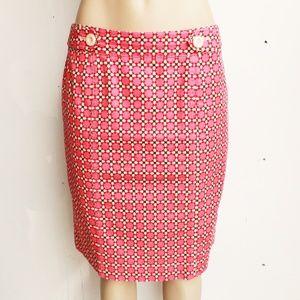 Geometric Stretchy Career Skirt
